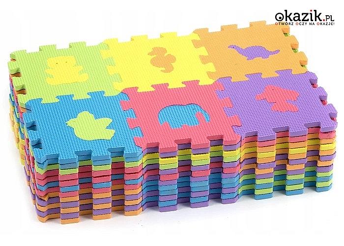 Puzzle piankowe - zwierzęta! Mata edukacyjna! 144 elementy!