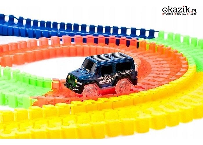 Świecący tor samochodowy! 360 elementów! 2 auta w zestawie!