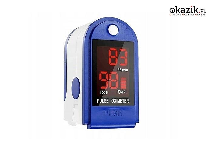 Pulsoksymetr medyczny na palec! Dokonuje dokładnego pomiaru wysycenia krwi tlenem oraz tętna!