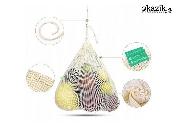Zadbaj o środowisko! 3 eko torebki na zakupy oraz siatka w zestawie!
