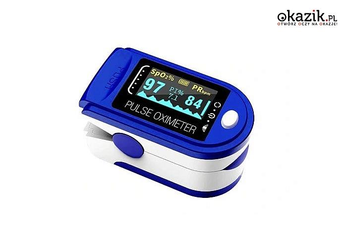 Pulsoksymetr medyczny! Kontroluj swoje zdrowie! Przeznaczony do pomiaru SpO2 i PR.