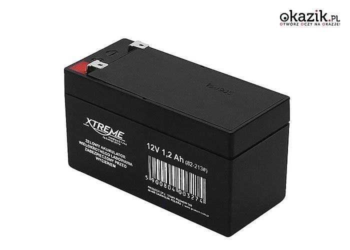 Żelowy akumulator wielokrotnego ładowania, zabezpieczony przed wyciekiem. Dwie pojemności do wyboru