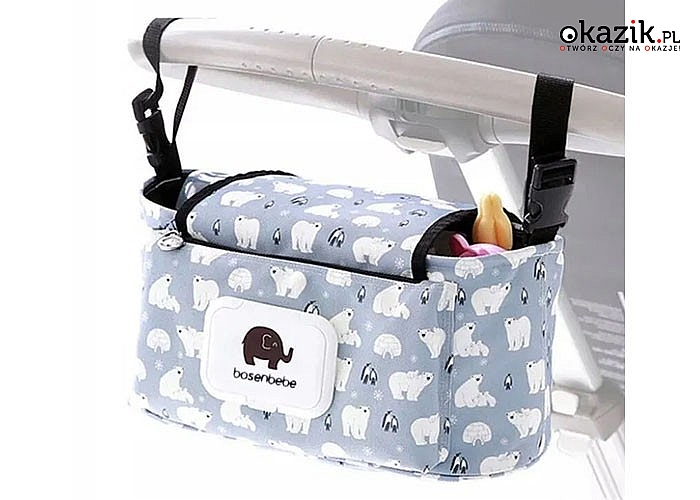 Praktyczna torba do wózka idealna na wszelkie akcesoria spacerowe lub zabawki i gadżety Twojego dziecka