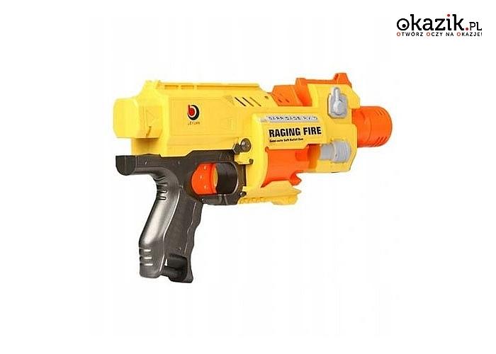 Pistolet Raging Fire , z półautomatycznym magazynkiem oraz obrotową beczką na kulki,miękkie,bezpieczne