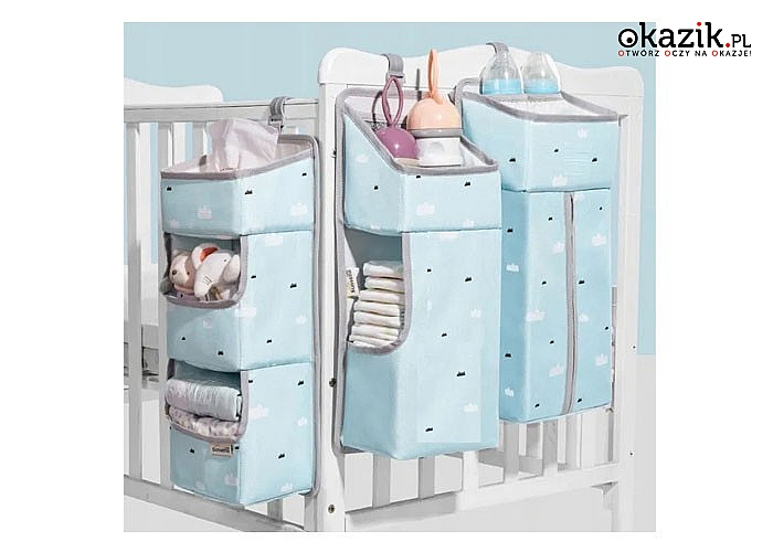 Organizer do łóżeczka zawsze jest pod ręką i pomoże w wykonywaniu codziennych czynności związanych z pielęgnacją dziecka