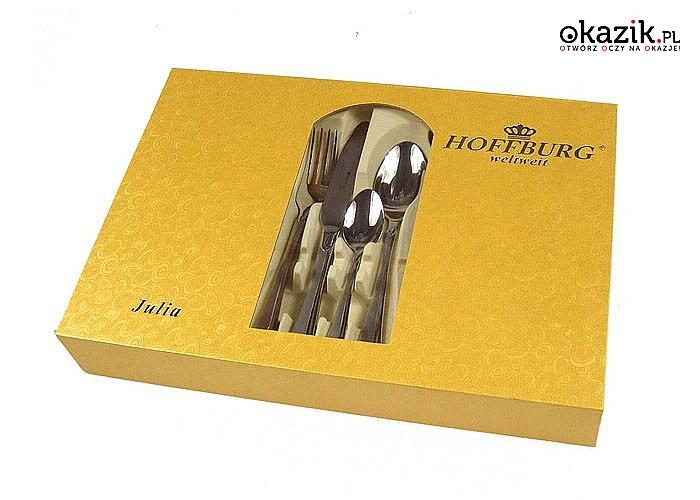 Elegancki 24 elementowy zestaw sztućców firmy HOFFBURG wykonanych ze stali nierdzewnej 18/10 z dekoracją satynową