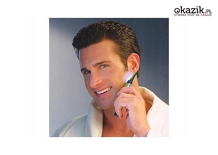 Trymer do dokładnego przycinania włosów w precyzyjny sposób wystylizuje męską twarz