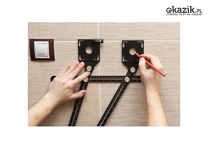 Uniwersalna linijka budowlana – szablon do wyznaczania otworów na powierzchniach płaskich!