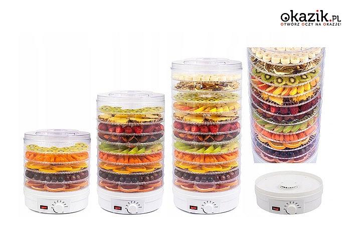 Suszarka spożywcza do grzybów oraz owoców! Aż 9 tac w zestawie! Płynna regulacja suszenia!