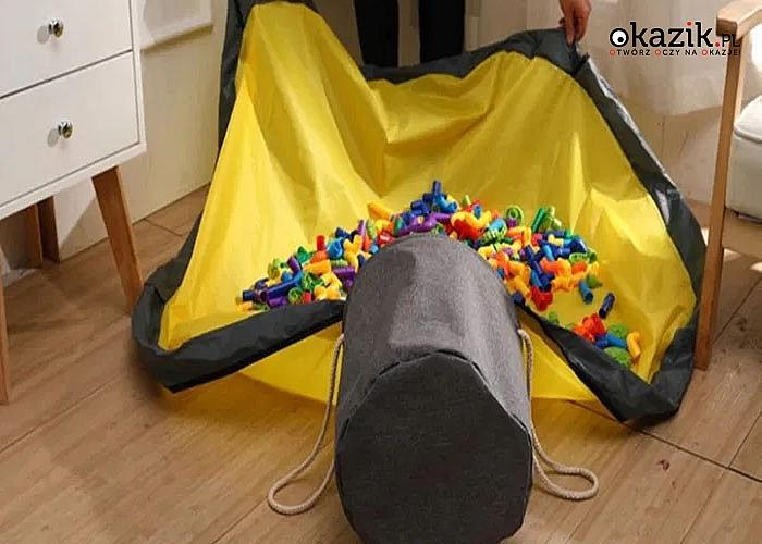 Kosz z matą 2w1 jest idealnym rozwiązaniem dla rodziców i dzieci, którzy muszą posprzątać po zabawie