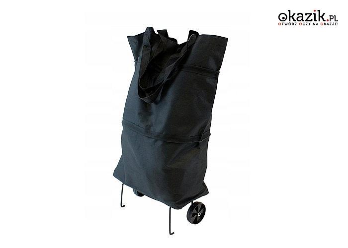 Torba na zakupy wyposażona w solidne kółka, co znacznie odciąży Twój kręgosłup i ułatwi noszenie ciężkich zakupów