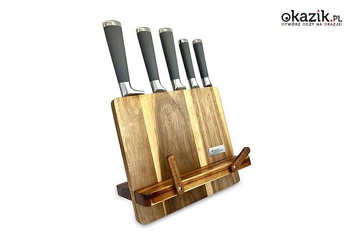 Zestaw noży ze stali nierdzewnej w akacjowym bloku! Trzy zestawy do wyboru.
