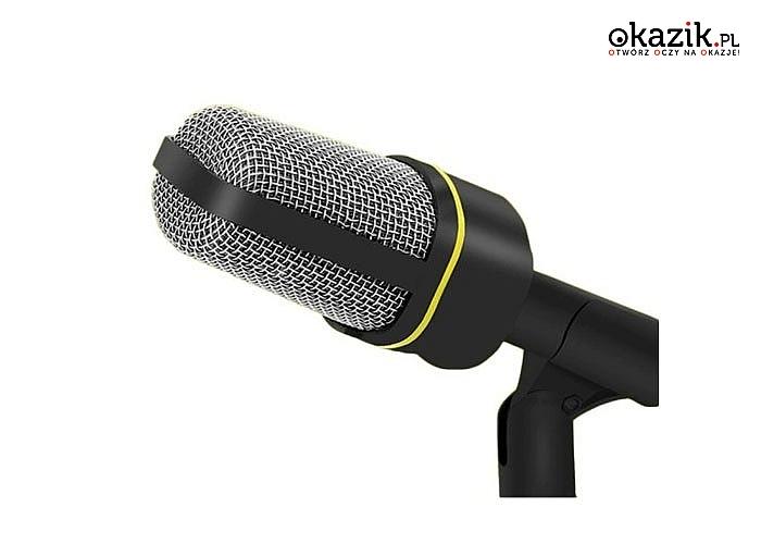 Uniwersalny, przewodowy mikrofon na statywie komputerowy z kablem o długości aż 200 cm