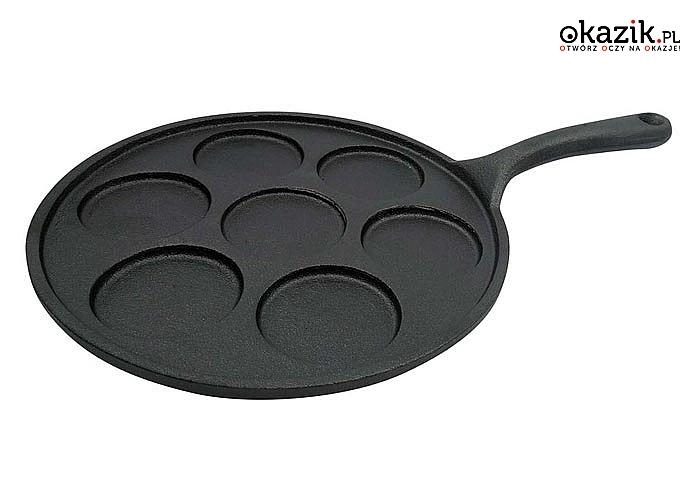 Patelnia żeliwna do placków i jajek Kinghoff to naczynie, które pomoże skończyć z trudnymi i nudnymi śniadaniami