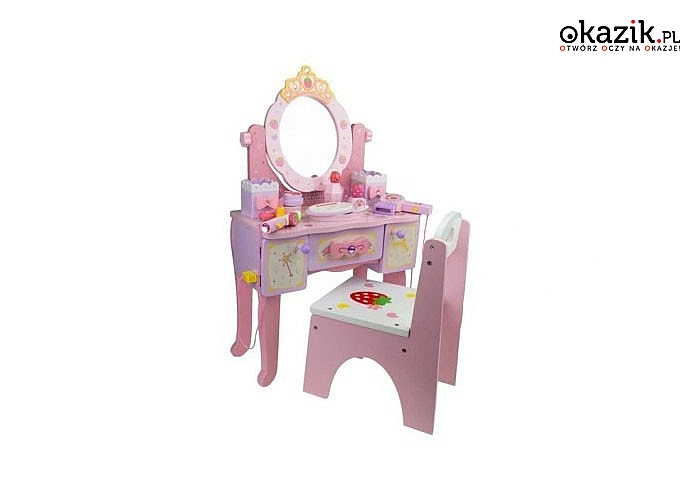 Różowa toaletka z lustrem oraz akcesoriami zapewni ogromna frajdę małej księżniczce
