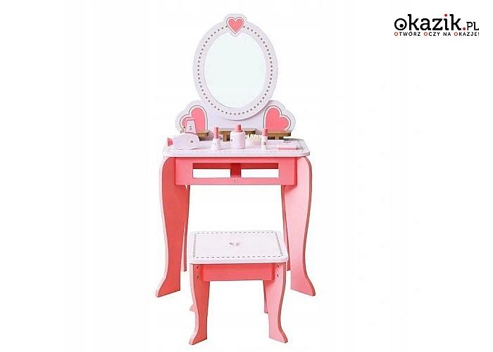 Drewniana toaletka z akcesoriami idealna dla małej modnisi