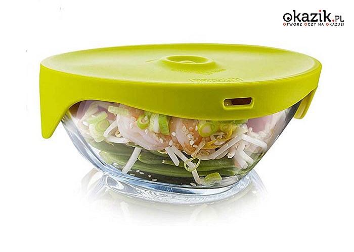 Miska parowa z pokrywą ze szkła boro-krzemowego pozwala przygotować idealnie wilgotne i smaczne posiłki z mikrofali