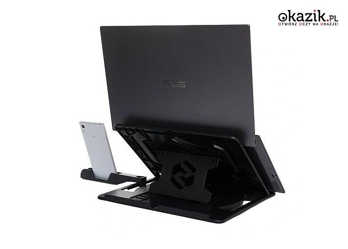 Chłodząca podkładka pod laptop z 8-stopniową regulacją kąta nachylenia