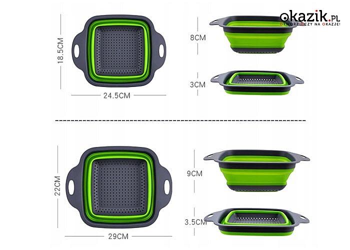 Zestaw składanych silikonowych cedzaków o nowoczesnym wzornictwie
