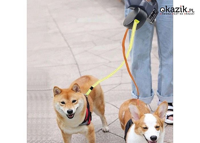 Podwójna smycz automatyczna dla psa lub kota! Aż 2x3 metry długości!