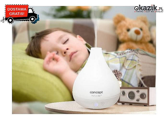 Nawilżacz powietrza z dyfuzorem aromatu o nowoczesnym designe, który pasuje do najbardziej wymagających wnętrz
