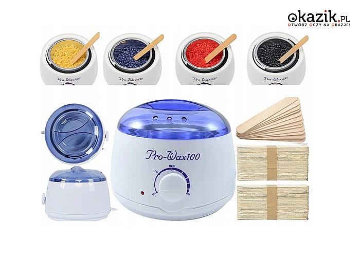 Zestaw do depilacji! Podgrzewacz do wosku, 4 woreczki twardego wosku oraz 100 szpatułek do nakładania!