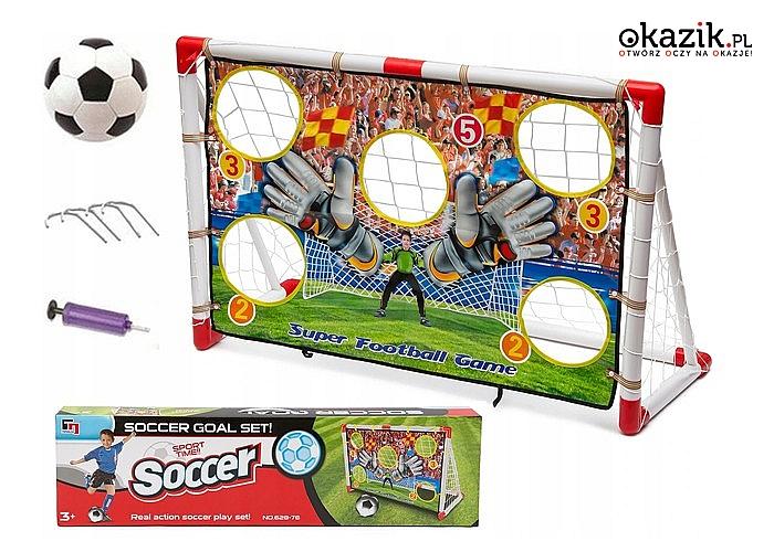 Bramka piłkarska! Mata, piłka oraz pompka w zestawie! 120x80! Świetna zabawa w domu lub ogrodzie!