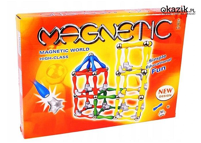 Magnetyczne klocki konstrukcyjne! 120 elementów! Układanka, która podbija świat swoimi możliwościami!