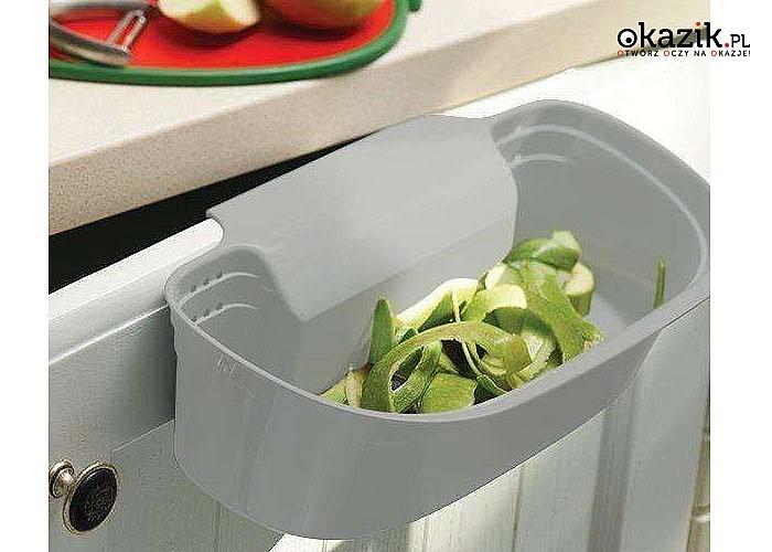 Biały zawieszany pojemnik na odpadki ułatwi Ci sprzątanie w trakcie gotowania