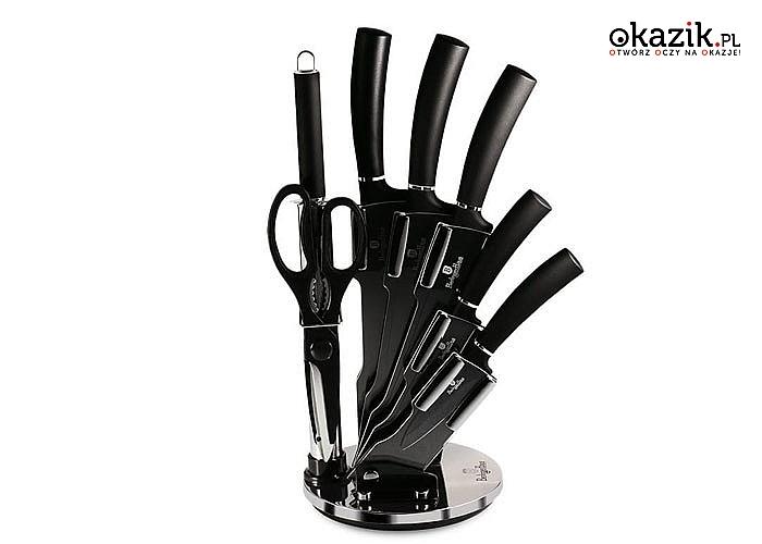 Zestaw noży kuchennych w stylowym stojaku sprawia, że przygotowywanie posiłków jest szybsze, łatwiejsze i wydajniejsze