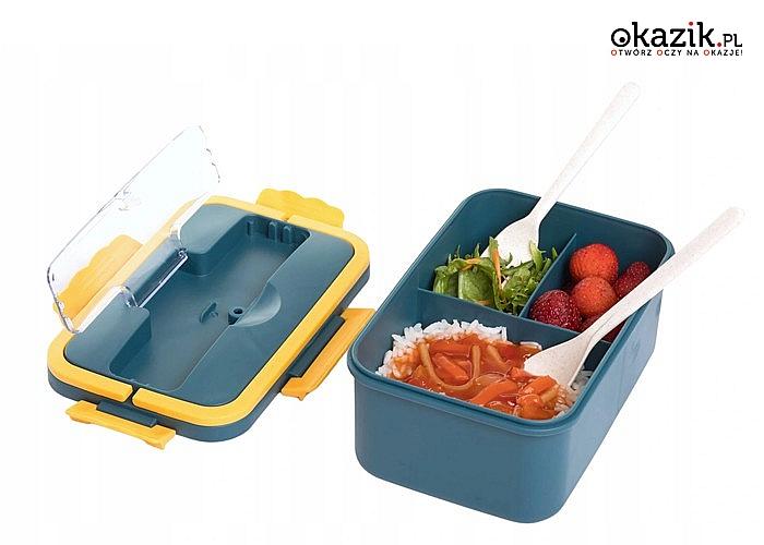 Trzykomorowy lunch box praktyczny pojemnik na żywność w podróży, szkole, pracy