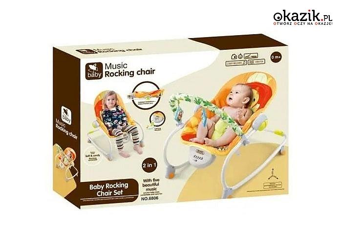 Fotelik, bujaczek z melodyjką i wibracjami 2 w 1 dla niemowlaka i starszaka