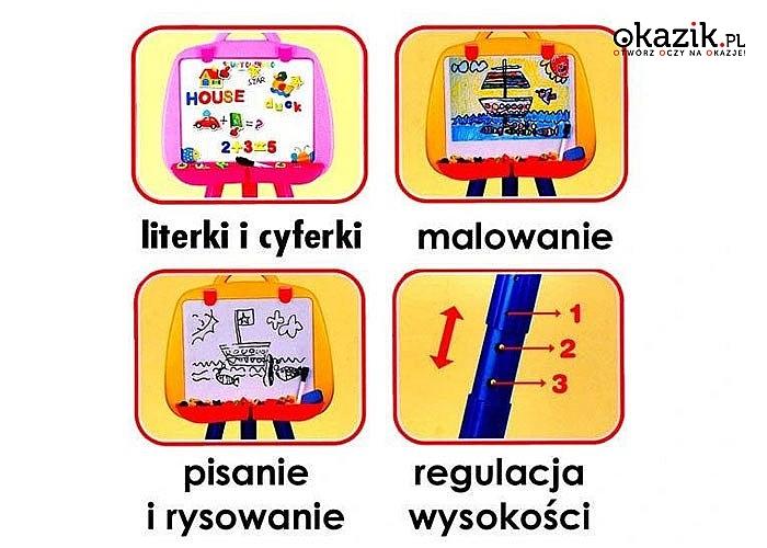 Wielofunkcyjna tablica z możliwością rysowania kredą i pisakami sprawi radość każdemu malcowi, który uwielbia rysować