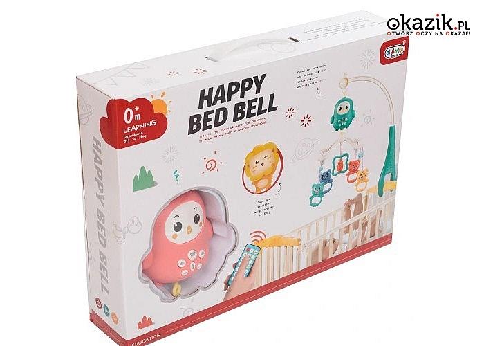 Karuzela do łóżeczka pomoże ukoić Twojego malucha do snu, dzięki łagodnym melodiom i świetlnej projekcji
