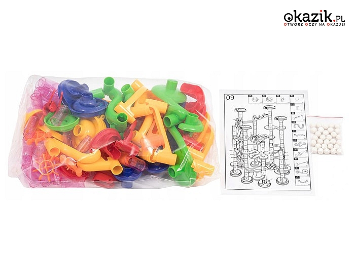 Tor kulkowy dla dzieci! Kulodrom! Twój maluch może stać się prawdziwym architektem! Aż 105 elementów w zestawie!