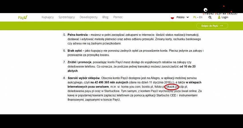 Okazik.pl na blogu PayU obok Starbucksa!