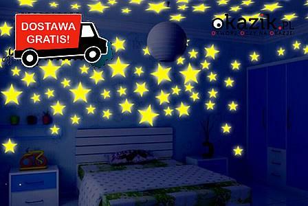 Fluorescencyjne naklejki na sufit w kształcie gwiazdek! 15.00 zł!
