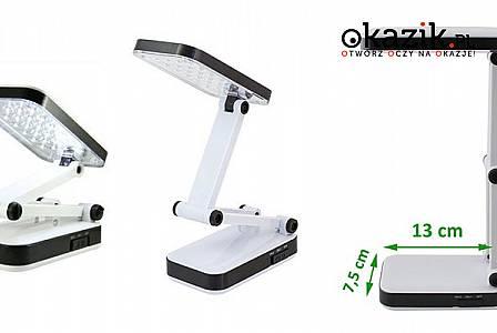 SKŁADANA LAMPKA BIURKOWA 24 LED – 2 poziomy świecenia, duża konfiguracja ustawienie + akumulator 1000 mAh.