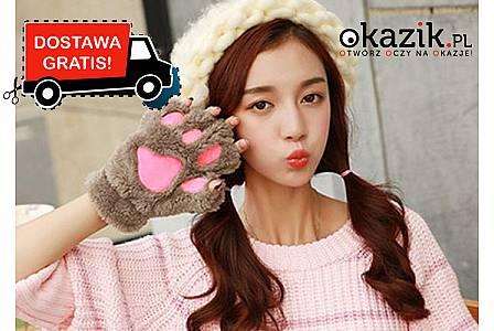 Urocze i zabawne rękawiczki bez palców dla kobiet, w stylu: kocie łapki. Wysyłka GRATIS! (19,90 zł)