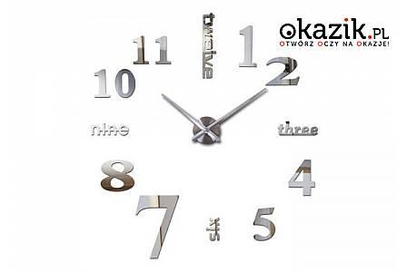 Nowoczesny i elegancki zegar ścienny, naklejany doskonały element wyposażenia nowoczesnych wnętrz