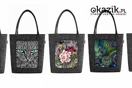 Modna torba filcowa SWING ze stylowym nadrukiem: z czarnego, ekologicznego filcu. Wiele wzorów do wyboru!