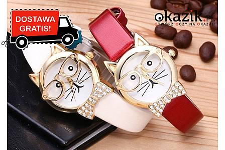 Zabawny zegarek damski z kotem! Mechanizm kwarcowy! Najwyższa jakość wykonania!