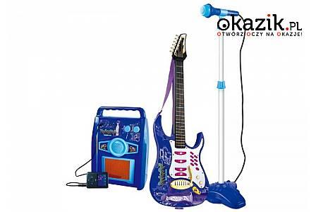 Duża gitara elektryczna ze wzmacniaczem i mikrofonem