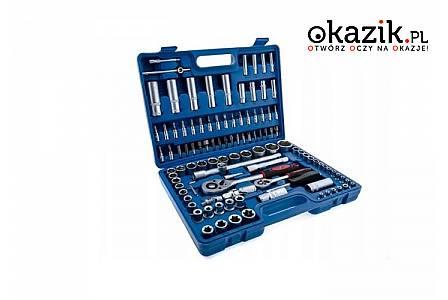 Zestaw kluczy nasadowych, komplet zawiera 108 elementów !!! W zestawie także klucze z grzechotkami
