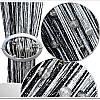 firana typu makaron z dodatkiem srebrnej nici i koralików – czarno-biała
